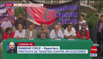 Protestan taxistas contra aplicaciones; anuncian bloqueos