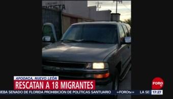 FOTO: Rescatan a 18 migrantes en Apodaca, Nuevo León, 27 ABRIL 2019