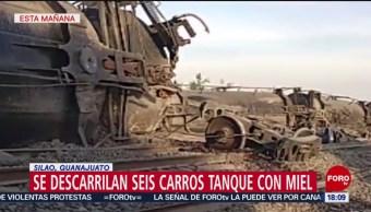 FOTO: Se descarrilan seis carros tanque con miel en Silao, Guanajuato, 13 de abril 2019