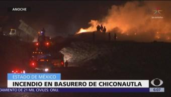 Se incendia basurero de Chiconautla, Edomex