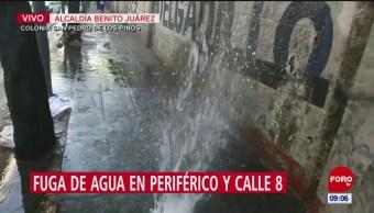 Se registra fuga de agua en Periférico, en la CDMX