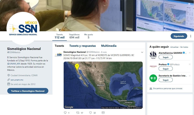 Foto: Se registra sismo de 4.9 en Baja California, informó el Servicio Sismológico Nacional, 20 abril 2019