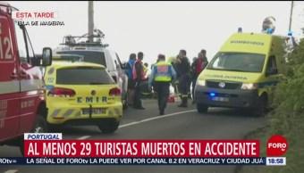 Foto: Suman 29 turistas muertos tras volcadura de autobús en Portugal