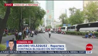 Foto: Trabajadores de Chapingo mantienen bloqueo en Reforma