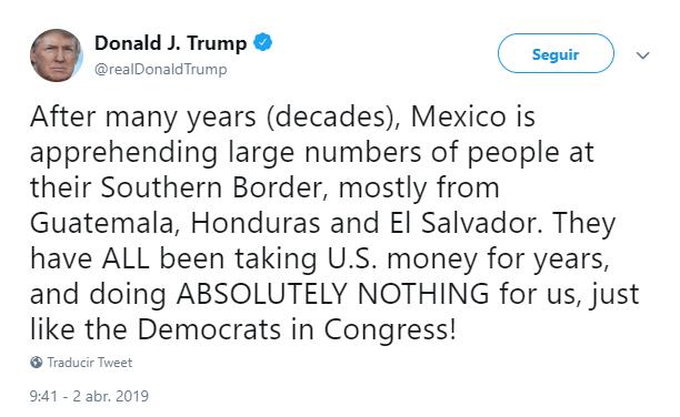 Foto: Trump felicita a México en Twitter, 2 de abril de 2019, Estados Unidos