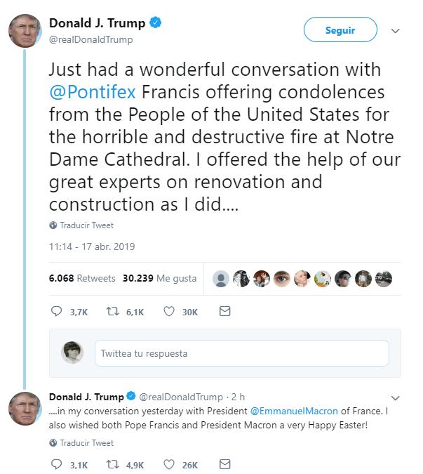 Imagen: Tuit de Trump sobre conversación con el papa Francisco, 17 de abril de 2019, Estados Unidos