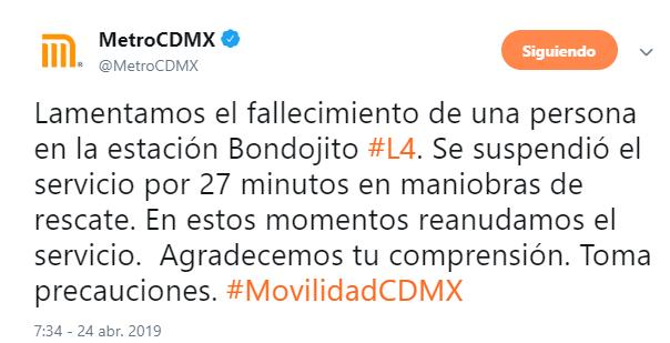 IMAGEN Detienen a hombre por arrojar a policía a vías del Metro CDMX, en Bondojito (Twitter 24 abril 2019 cdmx)
