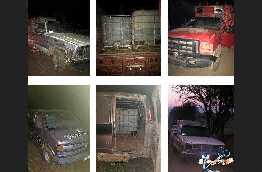 Foto; vehículos asegurados en Puebla, 15 abril 2019. Twitter @SEMAR_mx