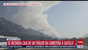 FOTO: Accidente causa incendio forestal en Nuevo León, 18 MAYO 2019