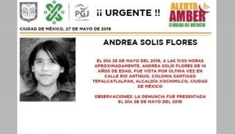 Foto Alerta Amber para ayudar a localizar a Andrea Solís Flores 27 mayo 2019