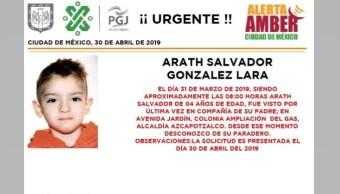 Foto Alerta Amber para localizar a Arath Salvador González Lara 1 mayo 2019