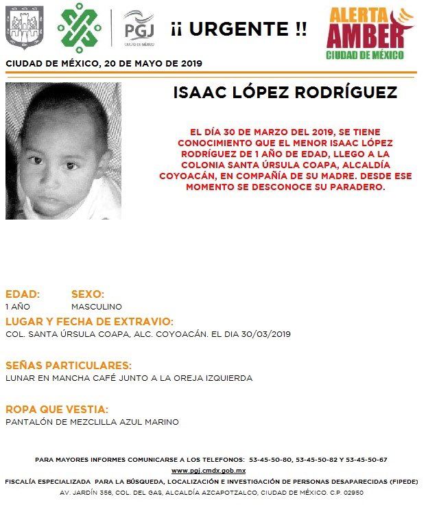 Foto: Alerta Amber para localizar a Isaac López Rodríguez 21 mayo 2019
