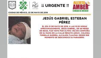 Foto Alerta Amber para localizar a Jesús Gabriel Esteban Pérez 23 mayo 2019