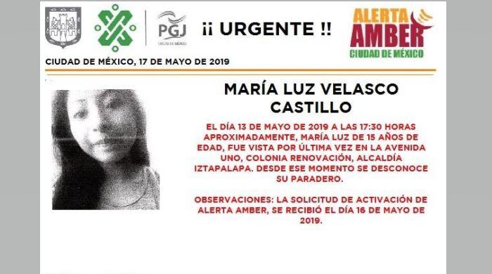 Foto Alerta Amber para localizar a María Luz Velasco Castillo 17 mayo 2019