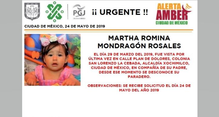 Foto Alerta Amber para localizar a Martha Romina Mondragón Rosales 24 mayo 2019