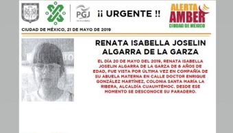 Foto Alerta Amber para localizar a Renata Isabella 21 mayo 2019