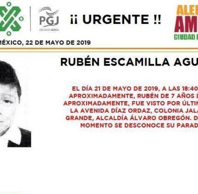Alerta Amber: Ayuda a localizar a Rubén Escamilla Aguilera