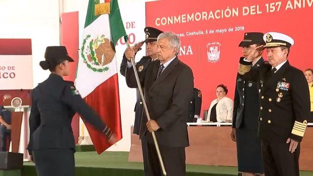 El presidente Andrés López Obrador encabeza en Piedras Negras la conmemoración de la Batalla de Puebla, 5 de mayo 2019