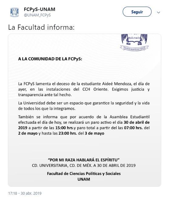 Foto Facultad de Ciencias Políticas de la UNAM realiza paro 2 mayo 2019