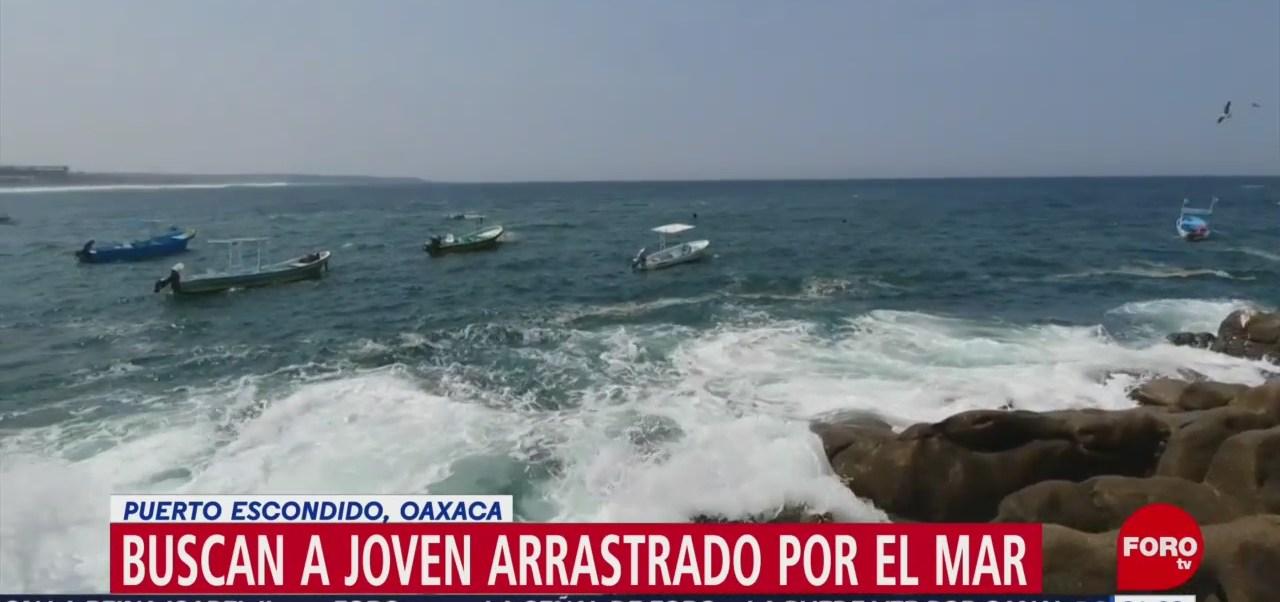 Foto: Buscan Cuerpo Joven Arrastrado Mar Puerto Escondido Oaxaca 24 Mayo 2019