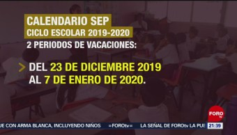 Foto: Calendario Escolar Sep 2019-2020 27 Mayo 2019