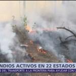 Continúan activos 78 incendios en 22 estados de la República