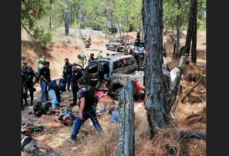 Foto: emboscada en Uruapan, Michoacán, 22 de mayo 2019. Twitter MARK SÁNCHEZ @ChilangoReport