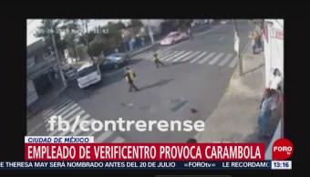 FOTO: Empleado de Verificentro provoca carambola en la CDMX, 24 MAYO 2019