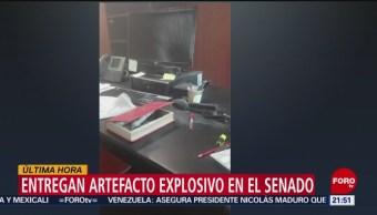 Foto: Artefacto Explosivo Senado Senadora Morena Citlalli Hernández 29 Mayo 2019