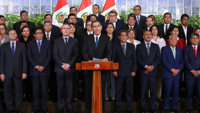 Foto: El presidente de Perú, Martín Vizcarra, ofrece un mensaje a la nación desde el Palacio de Gobierno en la ciudad de Lima. El 29 de mayo de 2019