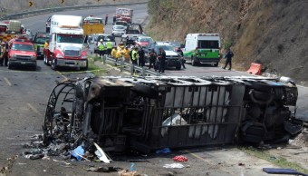 Foto: Un autobús de pasajeros con un grupo de peregrinos chocó y volcó en la autopista Puebla- Orizaba, Veracruz. El 29 de mayo de 2019
