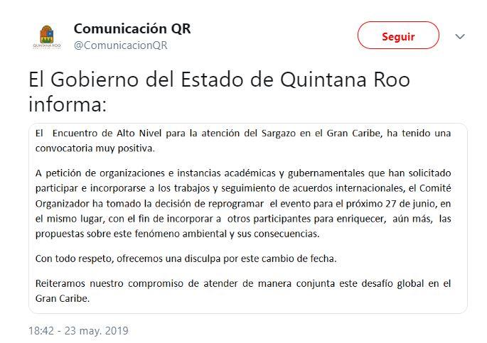 Foto Gobierno de México cancela encuentro para combatir sargazo 24 mayo 2019