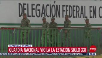 FOTO: Guardia Nacional vigila la Estación Siglo XXI en Tapachula, Chiapas, 19 MAYO 2019
