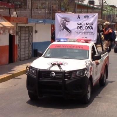 Despiden con homenaje a brigadista muerto en Tixtla, Guerrero