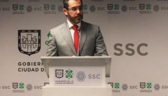Foto: Jesús Orta, secretario de Seguridad Ciudadana de la Ciudad de México se reunirá con el director del Politécnico, mayo 25 de 2019 (Twitter: @SSP_CDMX)