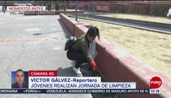 FOTO: Jóvenes realizan jornada de limpieza en Tlatelolco, 19 MAYO 2019