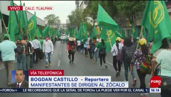 FOTO: Manifestantes se dirigen al Zócalo sobre Calzada de Tlalpan, 1 MAYO 2019