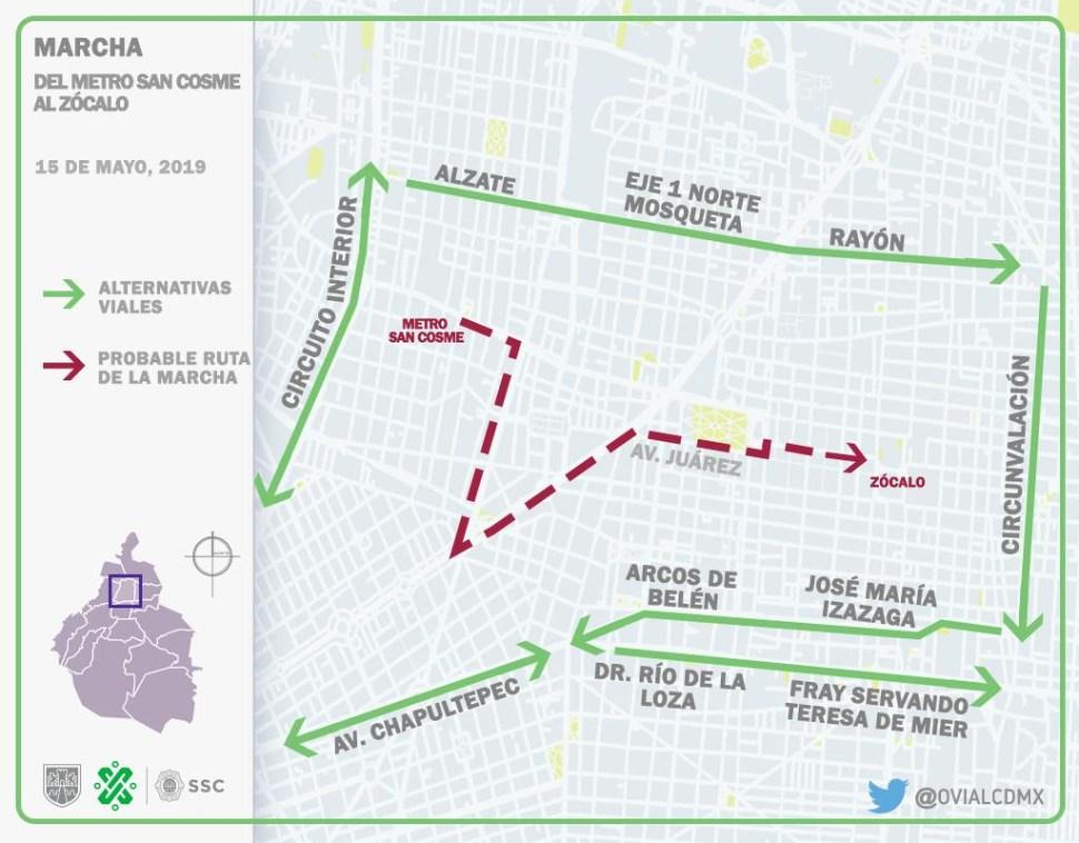 Foto Mapa del trayecto que seguirá la marcha de la CNTE hacia Zócalo capitalino 15 mayo 2019