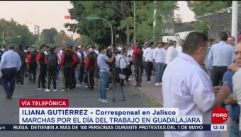 FOTO:Marchan sindicatos por Día del Trabajo en Guadalajara, 1 MAYO 2019