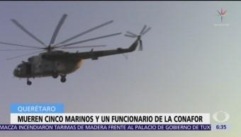 Mueren cinco marinos y un funcionario de la Conafor en Querétaro