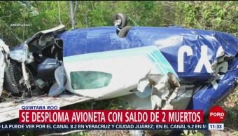 Mueren dos personas tras desplome de avioneta en Quintana Roo