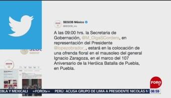 FOTO: Olga Sánchez colocará ofrenda en mausoleo del general Ignacio Zaragoza, 4 MAYO 2019
