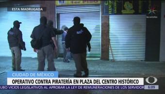 Operativa contra piratería en plaza del Centro Histórico, CDMX