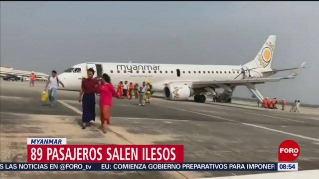 FOTO: Piloto salva a pasajeros tras fallo en tren de aterrizaje en Myanmar, 12 MAYO 2019