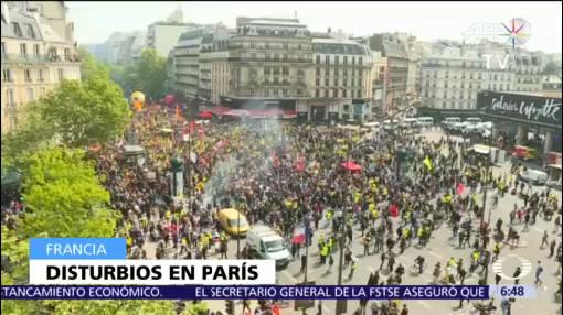 Policía enfrenta a chalecos amarillos en marchas del 1 de mayo