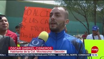 FOTO: Protestan por cierre de canchas de frontón en colonia Moctezuma Sección II, 24 MAYO 2019