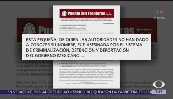 'Pueblo sin fronteras' acusa a INM de muerte de niña guatemalteca