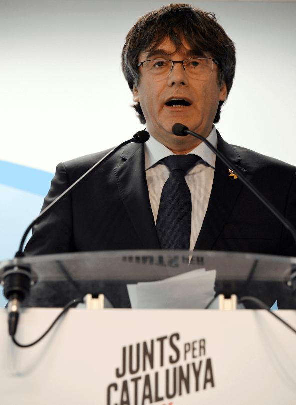 Foto: Puigdemont durante una conferencia en Bruselas, 10 de abril de 2019