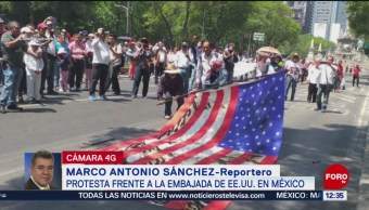FOTO: Queman bandera de Estados Unidos durante marcha en CDMX, 1 MAYO 2019