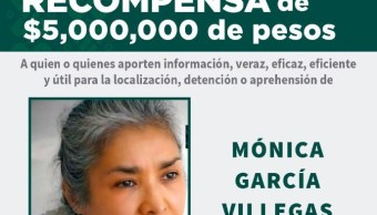 """Foto: Ofrecen recompensa de 5 millones de pesos por Mónica García Villegas, directora del Colegio """"Enrique Rébsamen"""", 1 mayo 2019"""